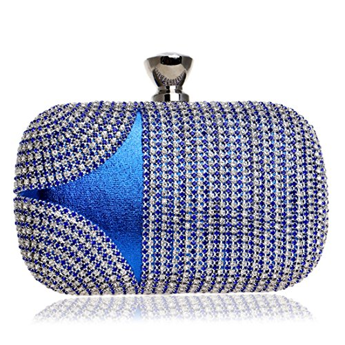 europea tiene borsa e borsa Vola Mano da borsa da strass Ladies Blu Dress quadrata sera Evening ROSSO americana che sera Colore piccola IC7wSqwn