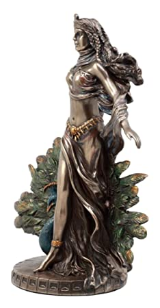 Ebros Gift Roman Juno Greek Goddess Hera with Sacred Peacock Statue Deity of Marriage Fertility Women Decorative Figurine