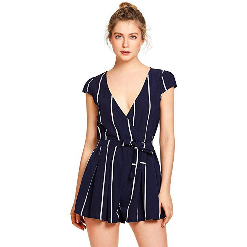 75476bb26f9 Amazon.com  Handyulong Women Rompers Casual V-Neck Short Sleeve Stripe Tie  Knot Fornt Beach Jumpsuit Shorts Playsuits for Teen Girls  Clothing