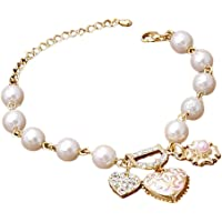 Hosaire 1X Fashion Bracelet Crystal Charm Pearl Heart-shaped Pendant Chain For Womens Girls Party Jewellery