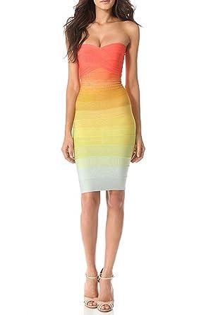 Whoinshop Womens Strapless Ombre Bodycon evening Bandage Dress Orange L