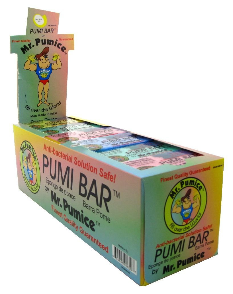 Mr. Pumice Pumi Bar (24-Count Display Box, Assorted Colors): Medium-Grit Callus Remover, Pedicure Stone & Ped File Scrubber For Smooth Feet and Heels Mr Pumice
