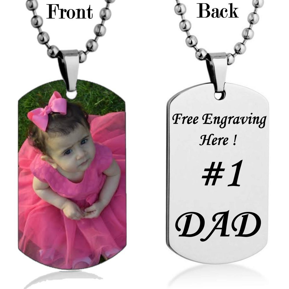 Personalized Custom Photo High Polished Color Engraved Dog Tag Necklace Pendant with 24 inch Stainless Steel Chain, Velvet Giftpouch and Keyring