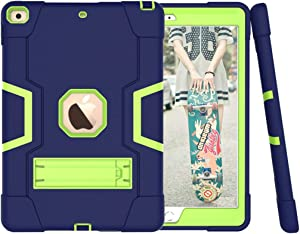 Case for iPad 8th Generation/iPad 7th Generation - Shockproof Dual Layers Super Sturdy Cover with Kickstand for New Apple iPad 2020 & 2019 (Navy+Green)