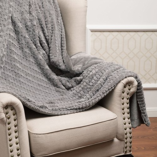 Bedsure Knitted Sherpa Throw Blanket Grey Knit-Sherpa 50x60 Rustic Home Decor Bedding (Knitted Throw)