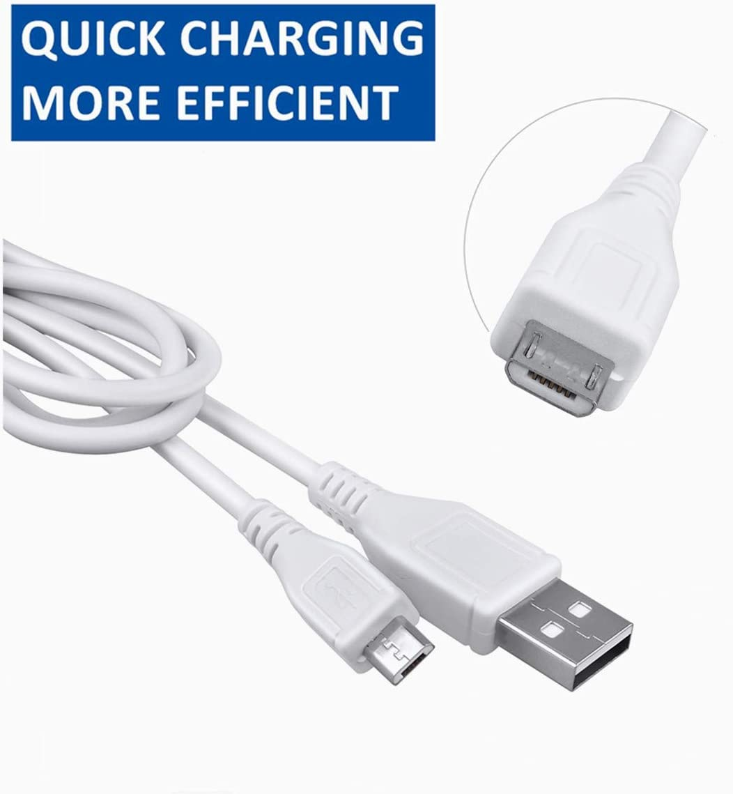 HISPD 5ft White Micro USB Charging Cable PC Laptop DC Charger Power Cord for Pac to Go P2GBS P2GBS-01 P2GBS01 Portable Wireless 360 Degree Stereo Sound Bluetooth Speaker PacGo