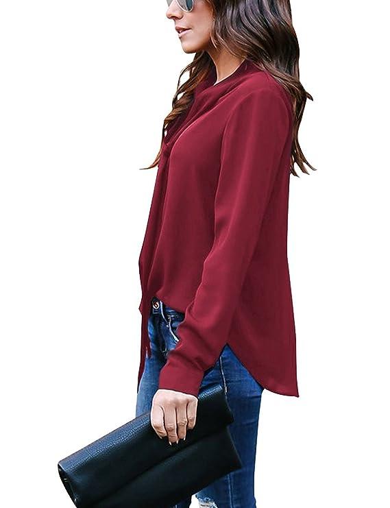 Blusas De Mujer De Moda 2018 Elegantes Camisa De Gasa Manga Larga ...