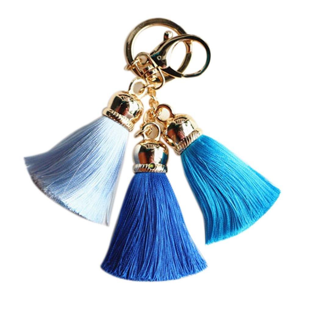 Sikye New Keychain, Ice Silk Tassel Car Key Chain Clip Handbag Key Ring Fashion Women Wallet Accessories (Blue)