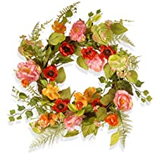 National Tree 22 Inch Spring Branch Wreath with Mixed Flowers (RAS-150326-1)
