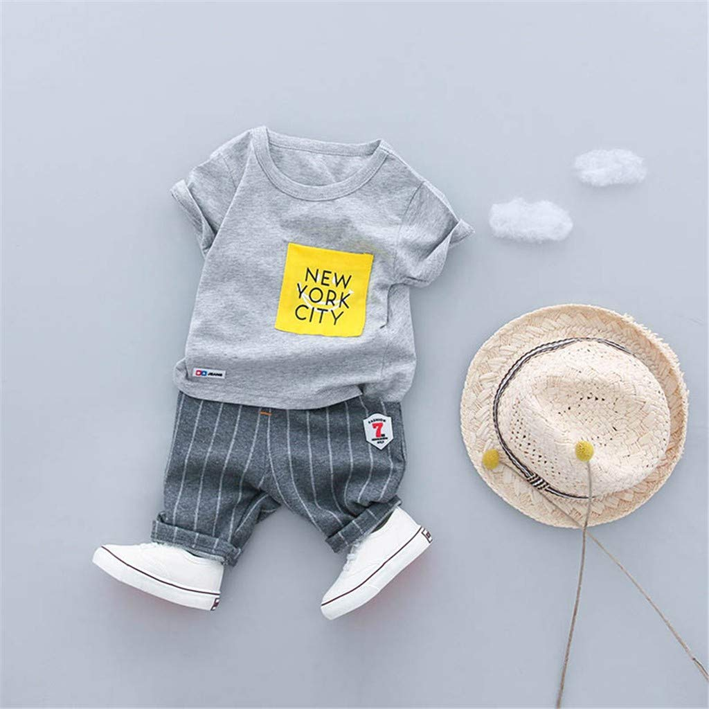 Kaicran New York City Toddler Kid Baby Boys Letter Printed Tops Stripe Pants Leggings Outfits Clothes Set 0-3 Y
