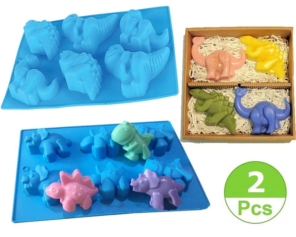 (Set of 2)Large Dinosaurs Silicone Fondant Mold Chocolate Mold for Sugarcraft,Cake Decoration,Candy Mold,Cupcake Topper,Polymer Clay,Crafting Projects,Soap Mold