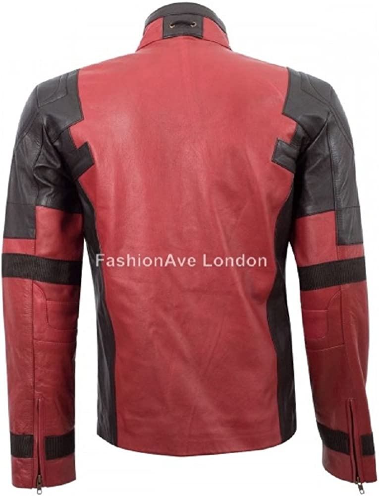 FashionAve Mens Real Leather Jacket Ryan Reynolds Deadpool 2 Movie Jacket XL