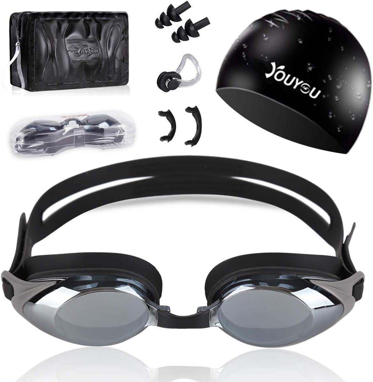 HAISSKY Gafas de Natación, Antiniebla Protección UV Sin Fugas Gafas Natación con Libre Clip de Nariz Enchufe de oído Visión Amplia Clara para Piscina Deportes Acuáticos