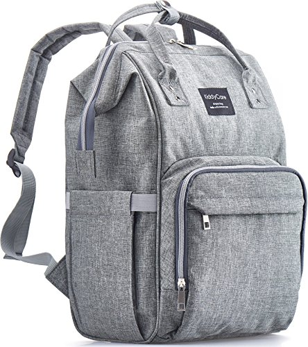 Diaper Bag Backpack by KiddyCare, Multi-Function Waterproof Maternity Nappy Bags for Travel with Baby, Large Capacity, Durable and Stylish, Gray