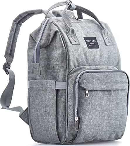 KiddyCare Diaper Bag Backpack – Multi-Functional Post Maternity Nappy Organizer – Stylish & Large Bags for Travel with Baby, Dark Gray