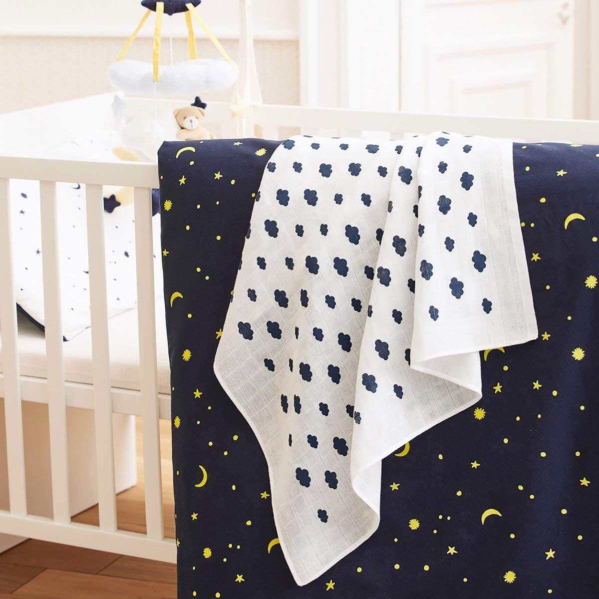 Bornino Basics Mullwindeln 80x80 cm Wolken und Sterne 3er-Pack - Mullt/ücher aus reiner Baumwolle Moltont/ücher ideal als Decke /& Sonnenschutz