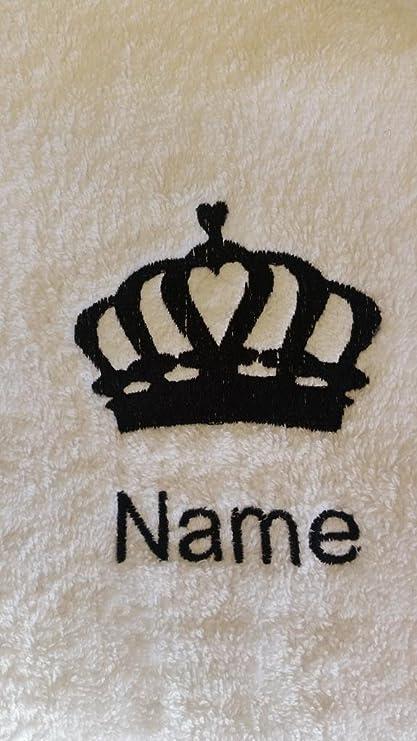 Albornoz con capucha infantil con una corona de reina Logo y nombre de su elección en