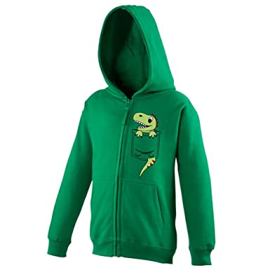 Youth Kids Childrens Zip Up Hoodie Pocket Dinosaur Dino Cute Character Print