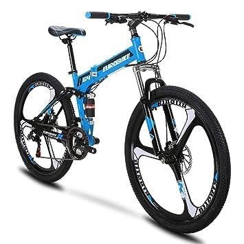 Extrbici G4 Mountain Bike 21 Frame Acero Velocidad 26 Pulgadas Ruedas Bicicleta Suspensión Plegable (Blue