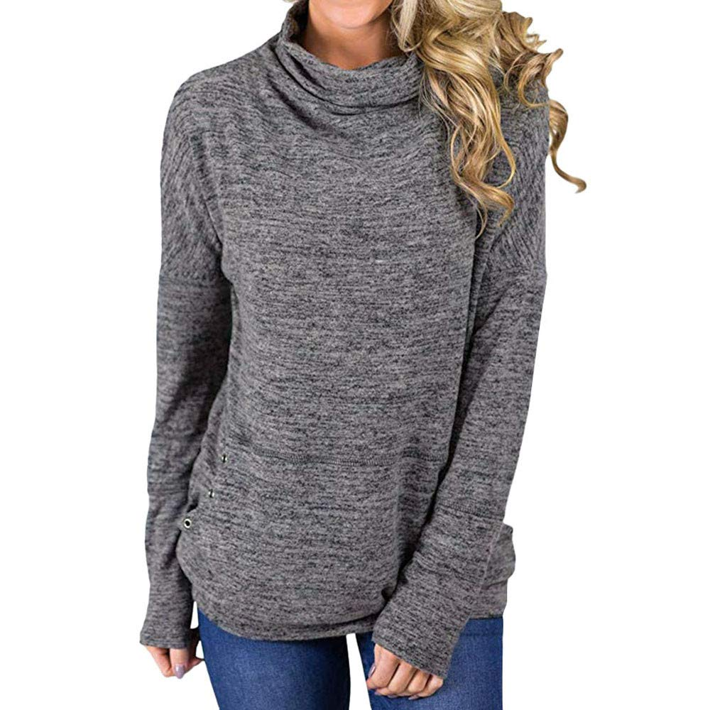 Londony ♥‿♥ Clearance Sales,Womens Turtleneck Long Sleeve Sweatshirt Loose T-Shirt Blouses Tops with Pockets