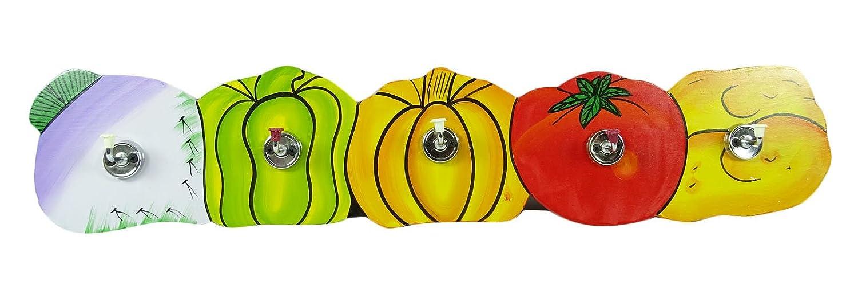 Tinny Mehrzweck Hölzerne Wand montiert Gemüse Design Flaschenhalter mit 5 Stahl Haken