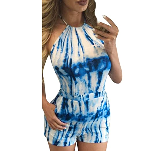 3dfe29b604d6 Amazon.com  Gyoume Women Halter Jumpsuit Printed Strapless Bandage Party  Short Mini Jumpsuit Rompers Overalls  Clothing
