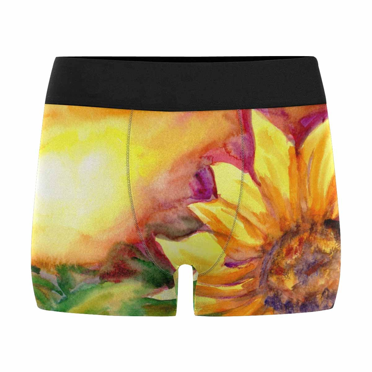 XS-3XL INTERESTPRINT Mens All-Over Print Boxer Briefs Watercolor Painting Sunflower Field in Time Sunset
