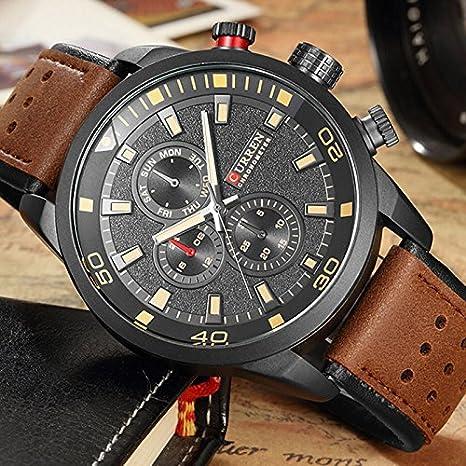 CURREN 8250 Sport Men Quartz Watch Moda Simple Relogio Masculino Hombres Relojes Militares: Amazon.es: Relojes