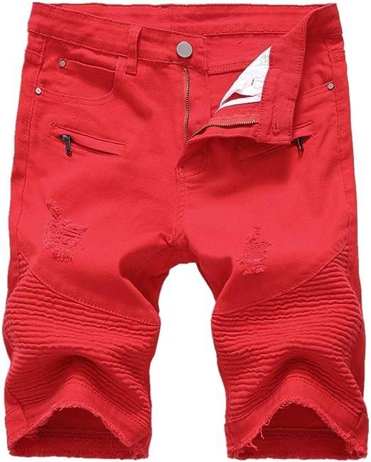 Uiophjkl Vaqueros De Mezclilla Casual Para Hombres Pantalones Cortos Rojos De Mezclilla Para Hombres De High Street Zipper Stretch Para Ganar El Agujero Los Pantalones De Hombre Amazon Es Hogar