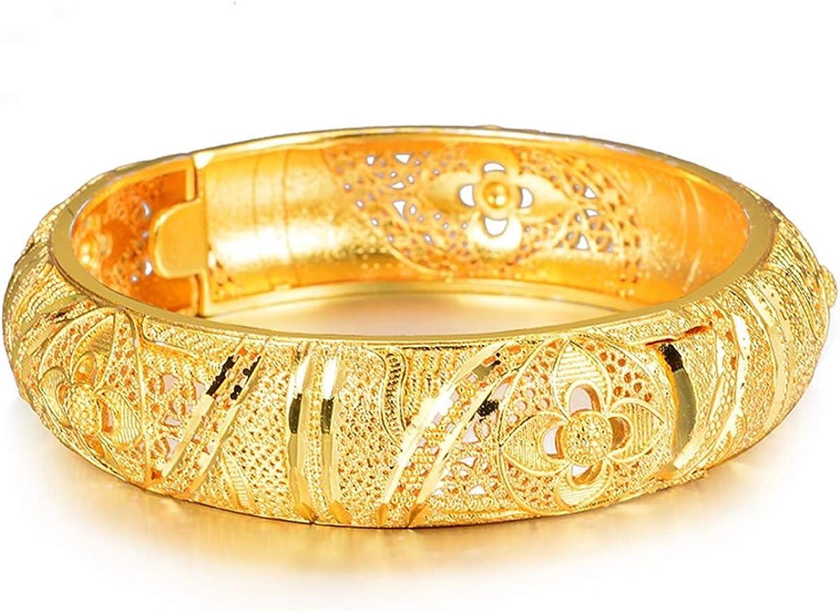 Montip Lynn 24K Gold Plated Women Bracelet Bangle leaf Vintage Dubai Bridal set of 1