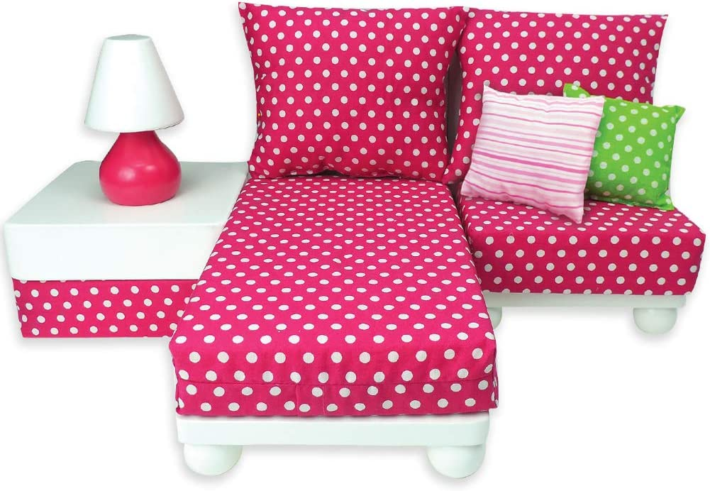"""18 Inch Doll Furniture Play Set: White Chaise, Chair, Ottoman, Lamp, Hot Pink/White Polka Dot Cushions, 2 Pillows. Perfect for 18"""" American Girl Dolls & More! 18"""" Doll House Furniture by Sophia's"""