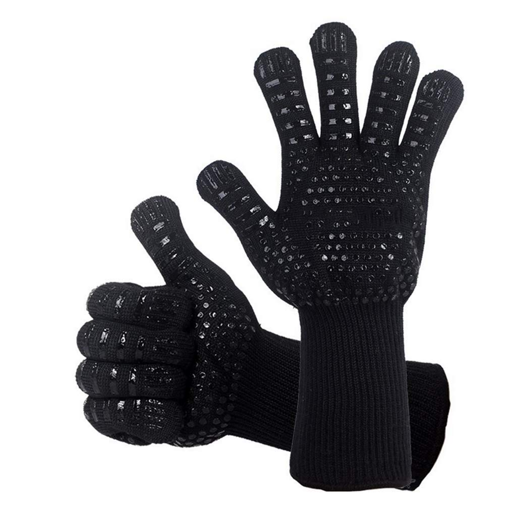 RXRENXIA BBQ Grill Gloves for Cooking 932℉ - Oven Silicone Glove Fireproof for Smoker Baking - High-Temp Barbecue Grilling Potholders - Heat-Insulated Cooking Mitt (Black)