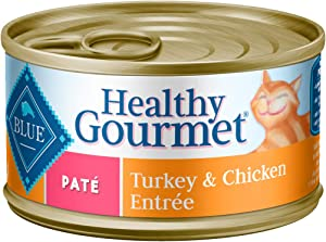 Blue Buffalo Healthy Gourmet Natural Adult Pate Wet Cat Food, Turkey & Chicken 3-oz cans (Pack of 24)