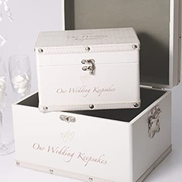 Amazon Com Luggage Series Set Of 2 Boxes Our Wedding Keepsake Box Health Personal Care
