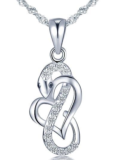 099de57b1009 Infinito U- Collares Mujer de Plata de ley 925 Colgante de Serpiente  Corazón con Diamante Collar para Mujeres Chicas con Cadena de 45 cm