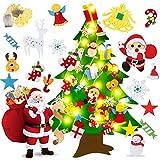 Árbol de Navidad de fieltro, 1 m para colgar en la pared, árbol de Navidad con adornos desmontables y cadena de luz LED, decoración para colgar en la pared de la ventana de Navidad, regalos de Navidad, suministros de fiesta de Año Nuevo