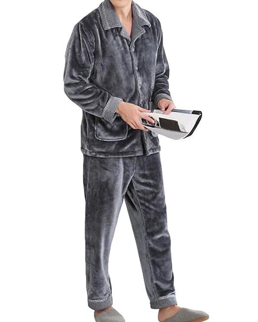 Conjunto De Pijamas Para Hombre Otoño E Invierno Gruesa Cálida Lana Polar De Lana Servicio A