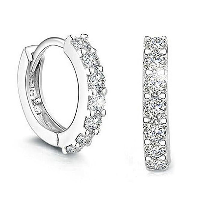 4 opinioni per orecchini donna, elegante 925 d'argento Bravetzx cerchio Diamante Orecchini per
