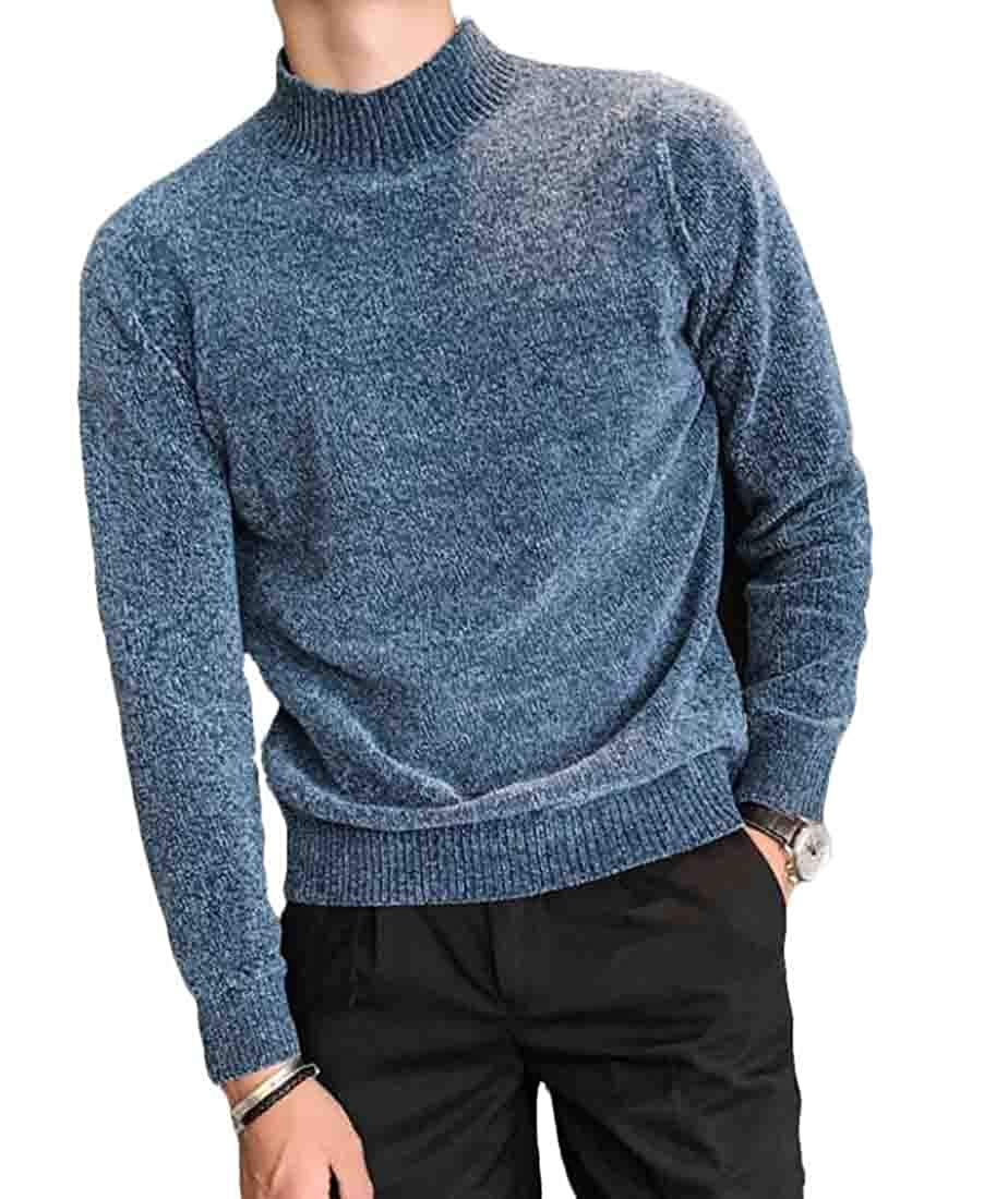 JXG Men Winter Ribbed Slim Fit Knitted Pullover Turtleneck Thermal Sweater