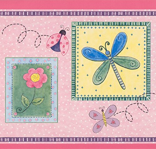 Wallpaper Border Butterfly Pink (Stylized Bee Butterfly Flower Dragonfly Ladybug in Squares Purple Pink Yellow Kids Wallpaper Border Retro Design, Roll 15' x 9