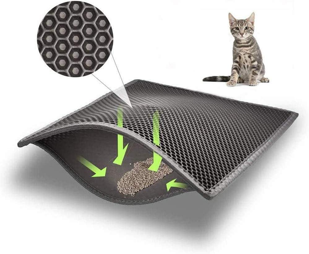 YAOJU Alfombra Gatos Arenero,Diseño de Panal de Doble Capa, Antideslizante, Impermeable, Fácil de limpiar, Cubierta de Arena para Gatos