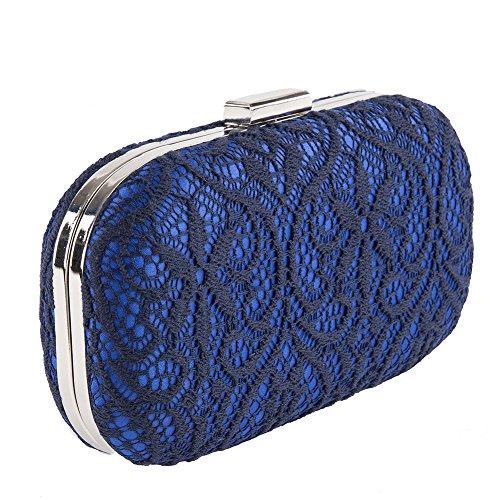 Borsa clutch, Melania blu , in tessuto in raso e pizzo, dimensione in cm: 19 l x 10 h x 4 p