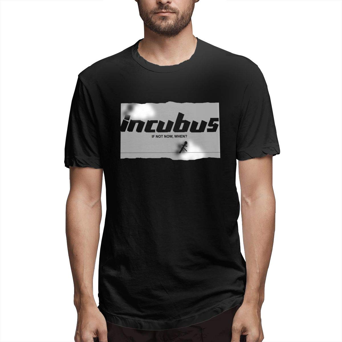Linqarcon Man Design with Incubus If Not Now When School Round Neck Short Sleeve T-Shirts