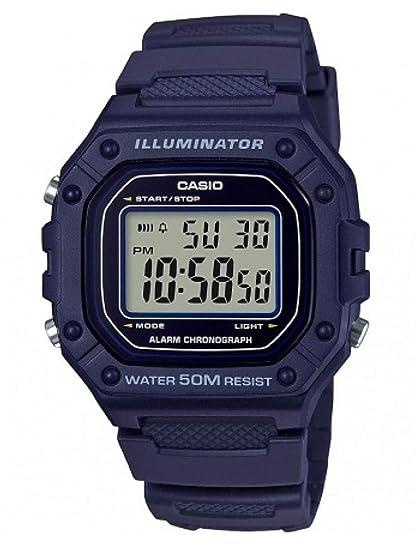 Casio Reloj Digital para Hombre de Cuarzo con Correa en Resina W-218H-2AVEF: Amazon.es: Relojes