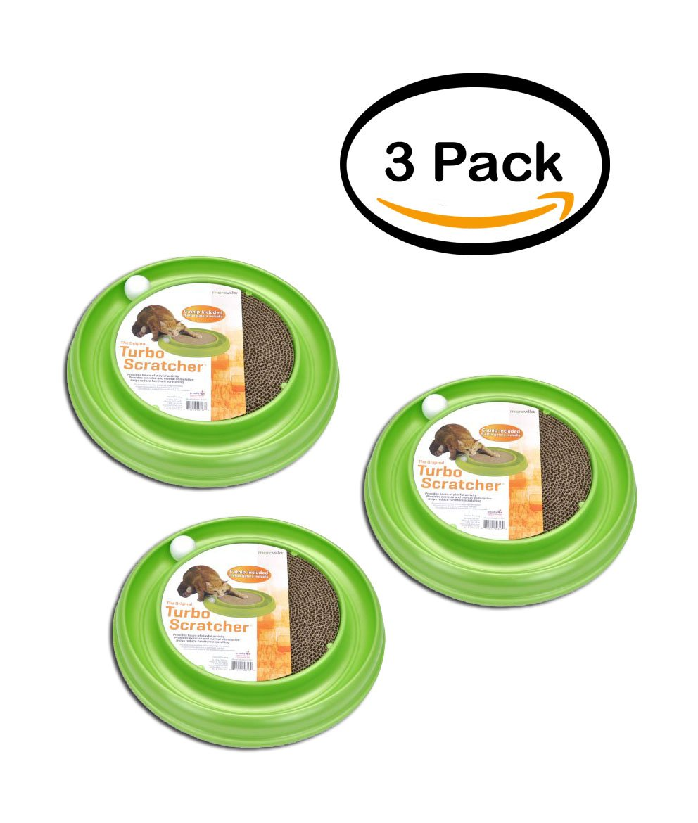 PACK OF 3 - Morovilla Turbo Scratcher Interactive Cat Toy And Scratcher