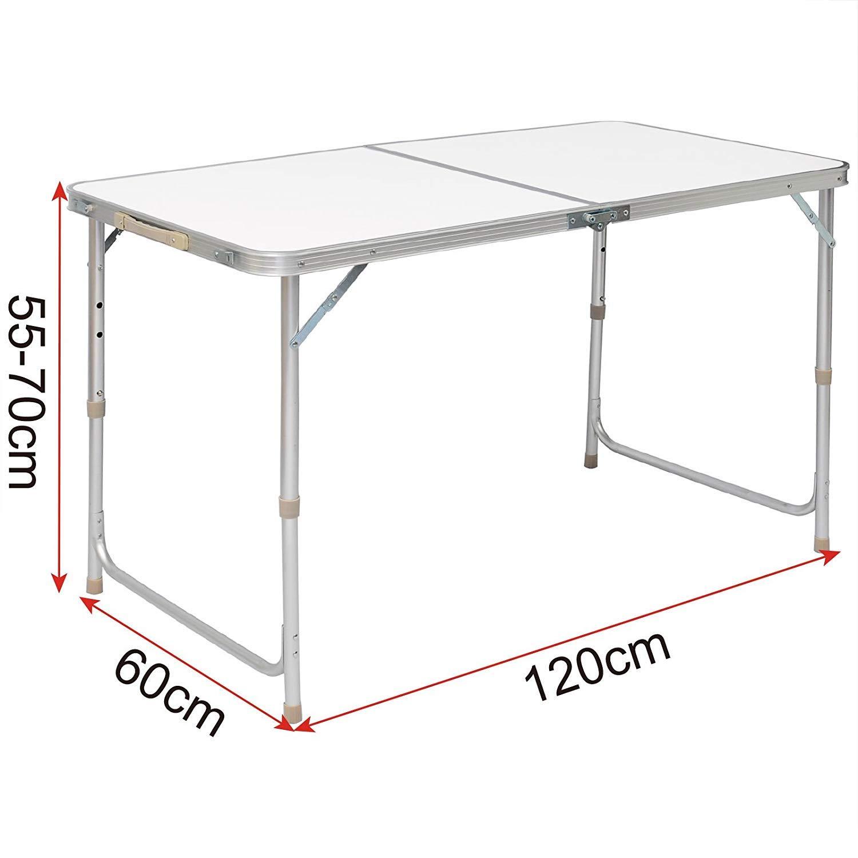 Lospu HY Portable Campingtisch aus Aluminium Gartentisch H/öhenverstellbarer Klapptisch Koffertisch praktisches Kofferformat 1.2M