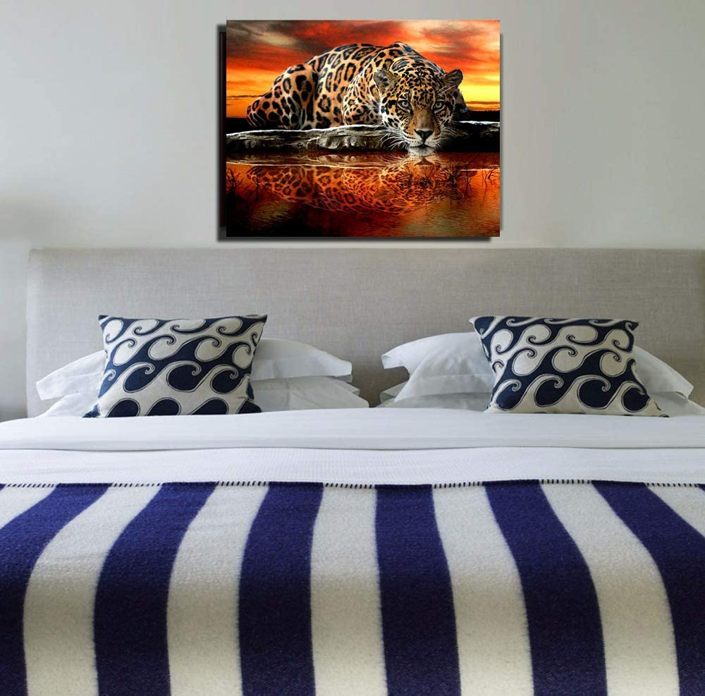 DIY Handwork Store 5D Diamond Painting Kits Full Round Drill Resin Embroidery Sale Leopard Animals Mosaic Art Craft Gift Rhinestones Home Wall Stickers Decor Leopard 19.7x 15.7