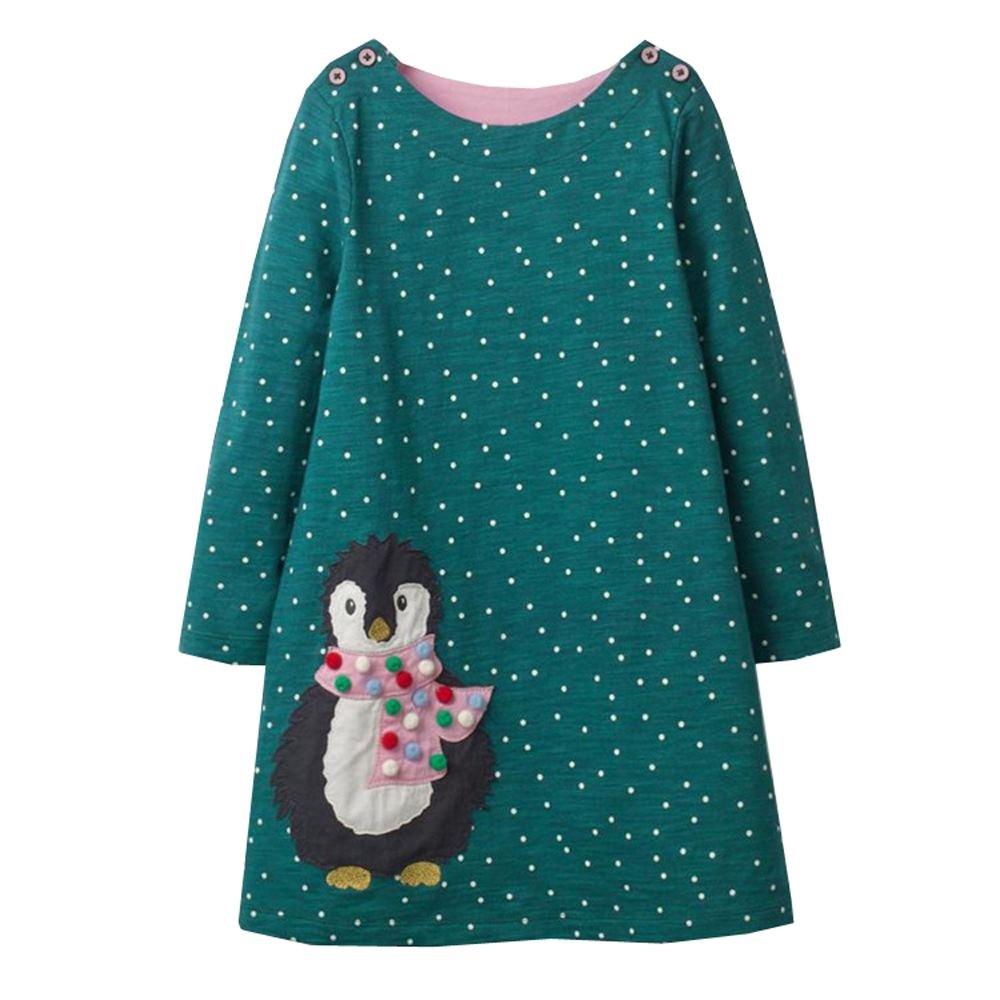 VIKITA 2018 Toddler Girls Dresses Christmas Penguin Long Sleeve Girl Dress for Kids 3-8 Years JM7735, 6T