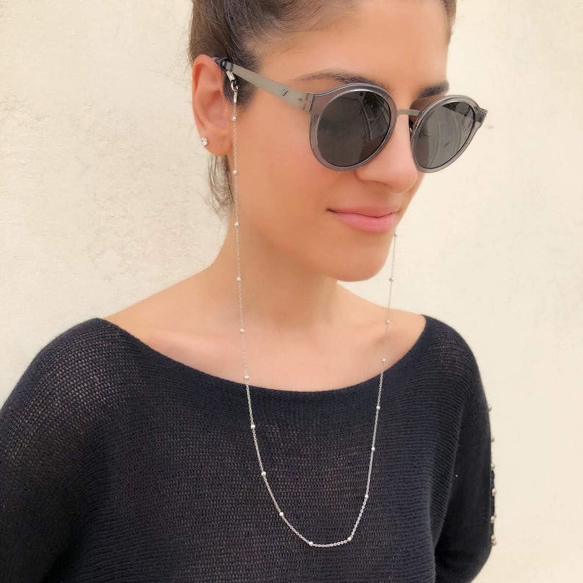 Gold Europa und den Retro Brille Kette Tragen Schmuck in Mode Literarischen Damen Perlen H/ängenden Hals Brille Schneeketten Winkey Brille Kette