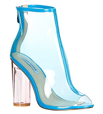 709ac9901fc Image Unavailable. Image not available for. Color  CAPE ROBBIN FF66 Women s  Peep Toe Block Clear Lucite Heel Ankle Booties ...